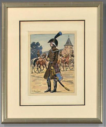 Officier de hussards du 2e régiment en manteau;...