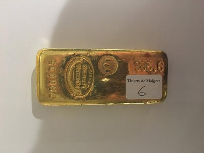 Lingot en or n°760835 Poids brut: 999.8 g....