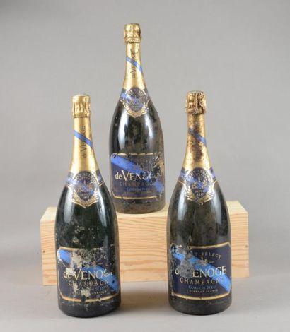 3 magnums CHAMPAGNE «Cordon Bleu», de Venoge...