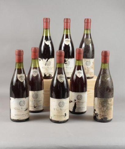 8 bouteilles CLOS-VOUGEOT, Besnard Fils 1966...