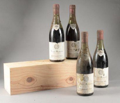 4 bouteille VOSNE-ROMANEE Besnard Fils 1966...
