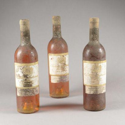 3 bouteilles CH. SUDUIRAUT, 1° cru Sauternes...