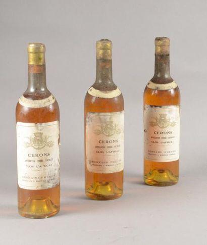 3 bouteilles CLOS L'AVOCAT, Sauternes (Mise...