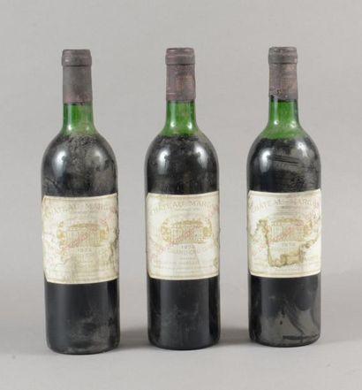 3 bouteilles CH. MARGAUX, 1° cru Margaux...