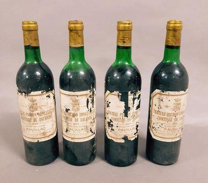 4 bouteilles CH. PICHON-LONGUEVILLE-COMTESSE-DE-LALANDE,...