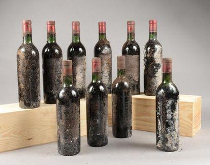 10 bouteilles CH. GAZIN, Pomerol (2 de 1966...