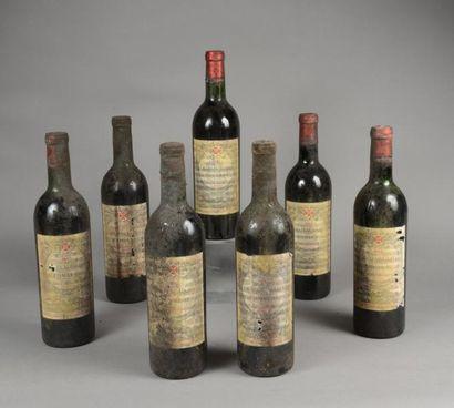 7 bouteilles CH. GAZIN, Pomerol 1967 (3 LB,...