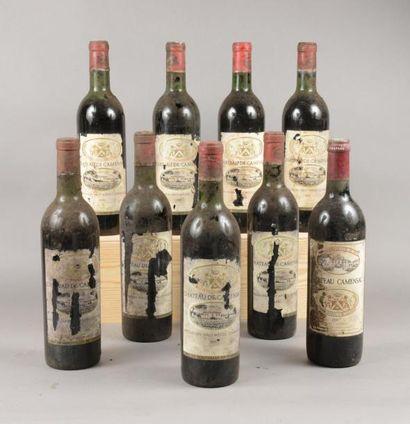 9 bouteilles CH. CAMENSAC, 4° cru Haut-Médoc...