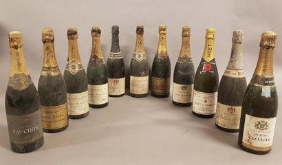 Ensemble de 11 bouteilles 1 bouteille CHAMPAGNE «Blanc de Noirs», Palmer & Cie 1957...