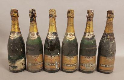 6 bouteille CHAMPAGNE Pol Gessner 1961 (ets,...