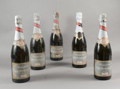 5 bouteilles CHAMPAGNE «Cordon Rosé», Mumm...