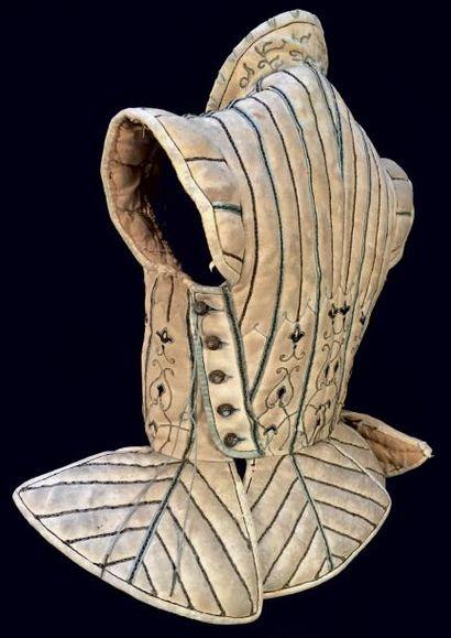Très rare pourpoint de gentilhomme en chamois brodé, France, vers 1580-1600. Peau...