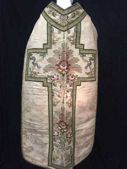 Devant de chasuble en lampas composite, XVIIIe...