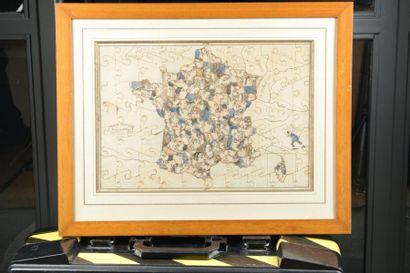 3 CARICATURES France grotesque divisée en...