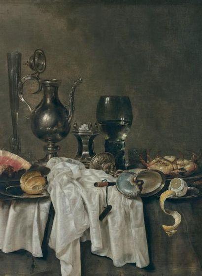 Willem Claesz HEDA (Haarlem 1594 - 1680) Nature morte aux pièces d'orfèvrerie, verre...