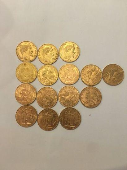 15 pièces de 20 Francs Or