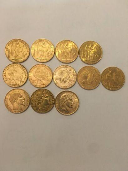 12 pièces de 20 Francs Or