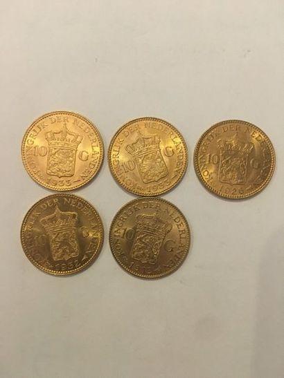 5 pièces de 10 Florins or