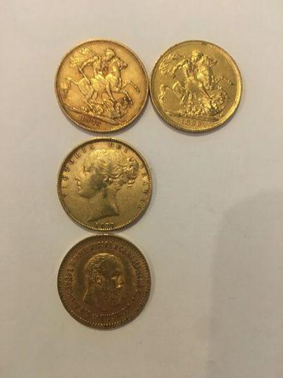 Lot de 4 pièces en or comprenant: 2 Souverains...