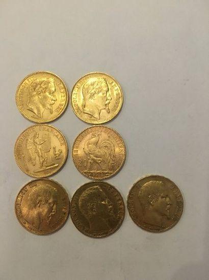 7 pièces de 20 Francs Or