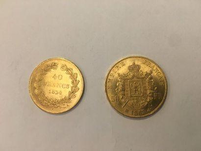 Lot de 2 pièces en or comprenant: Pièce de...