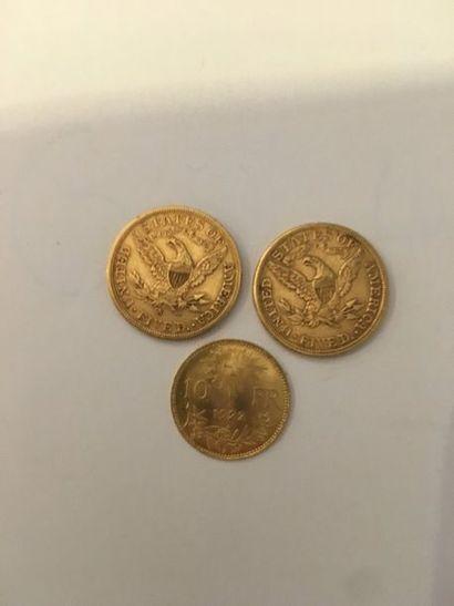 Lot de 3 pièces en or comprenant: Pièce de...