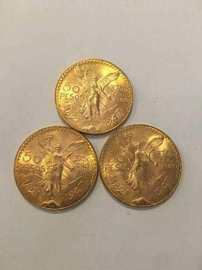 3 pièces de 50 Pesos Or