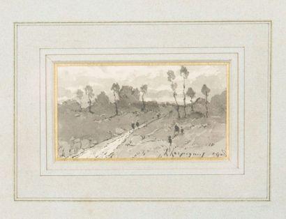 Paysage Lavis gris portant signature d'Henri...