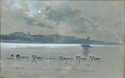 Deux paysages portant l'inscription ''Merry...