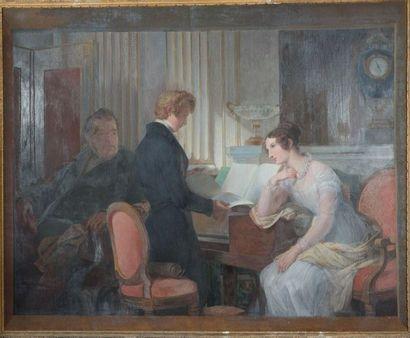 Ecole Française vers 1840 Famille dans un...