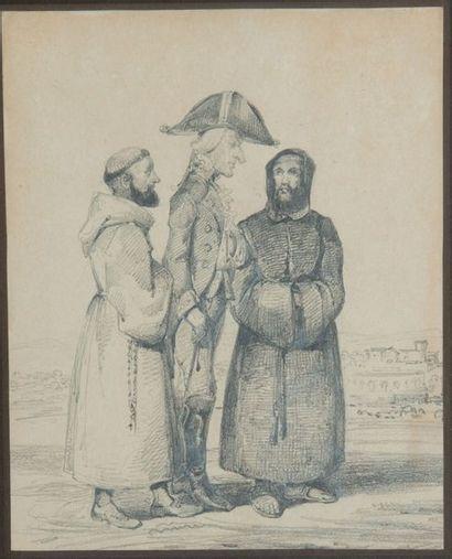 Ecole FRANCAISE vers 1840 Soldat entouré...