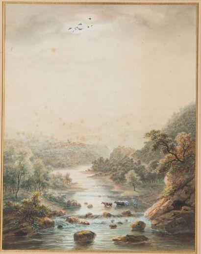 Auguste Etienne MAYER (Brest 1805-1890) Paysage...