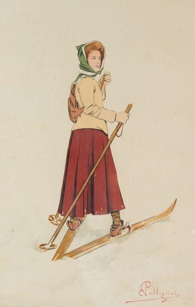 D'après Carlo Pelligrini (1839-1889) Patineurs...