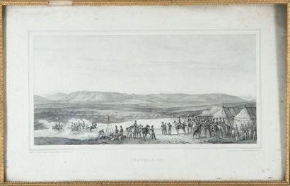 Lot de deux gravures: Campement militaire...