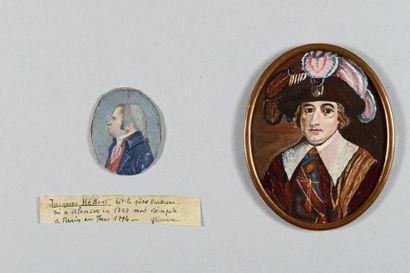 Une miniature ovale sur cuivre : Portrait...