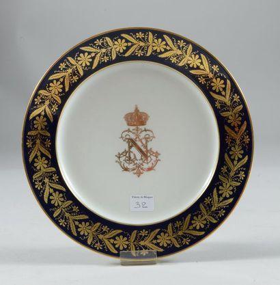 Assiette en porcelaine de Sèvres d'un service...