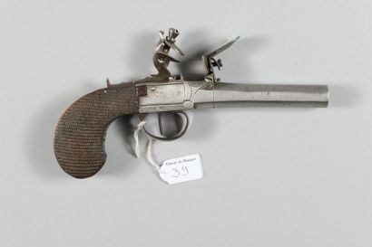 Pistolet coup de poing à silex, canon et...