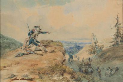 Dessin aquarellé: Scène militaire de la période...