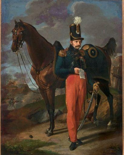 Portrait en pied, avec son cheval, d'un officier...