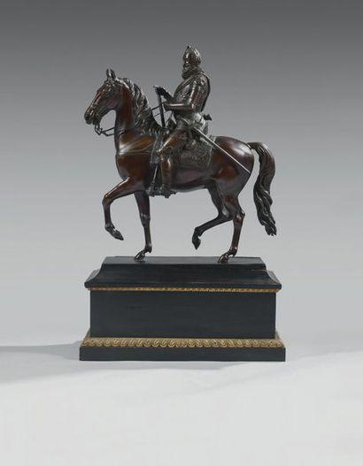 Beau bronze équestre, patiné: Henri IV, très...