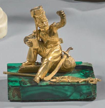 Petite statuette en bronze doré: Cosaque...