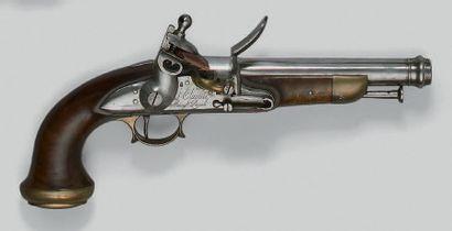 Curieux et fort pistolet à silex de type...