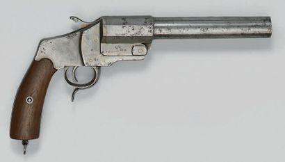 Pistolet signaleur, canon basculant en fer...