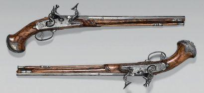 Belle et rare paire de pistolets à chenapan...