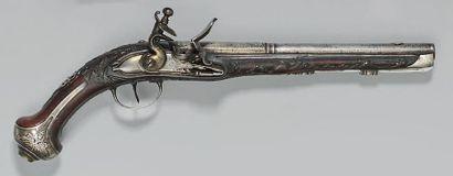 Pistolet à silex, canon à deux registres,...
