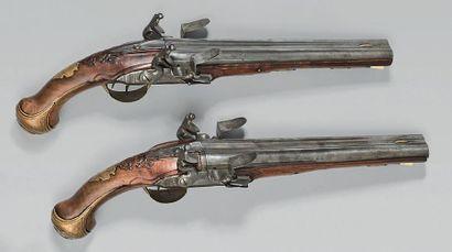 Grande paire de pistolets à silex de vénerie,...