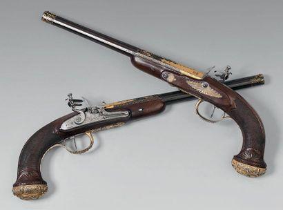 Rare paire de pistolets à silex modèle de...