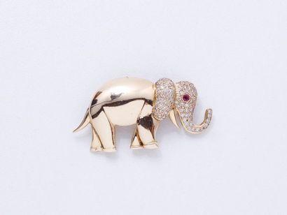 Broche pendentif en or 585 millièmes, stylisant...