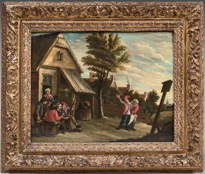 Ecole FRANCAISE vers 1800, dans le goût de David TENIERS