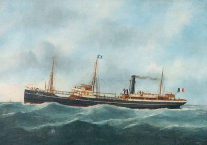 Victor Édouard ADAN (1868-1938) Portrait du bateau Le Fronsac, 1935 Huile sur toile,...